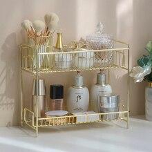 Iron Art Makeup Organizer Two-Layers Jewelry Box Cosmetic Organizer Makeup