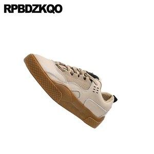 Image 2 - Zapatillas de piel elevador con cordones para mujer 2019 Casual suela gruesa zapatos Chatos con plataforma para mujer Creepers diseñador zapatos China Muffin entrenadores