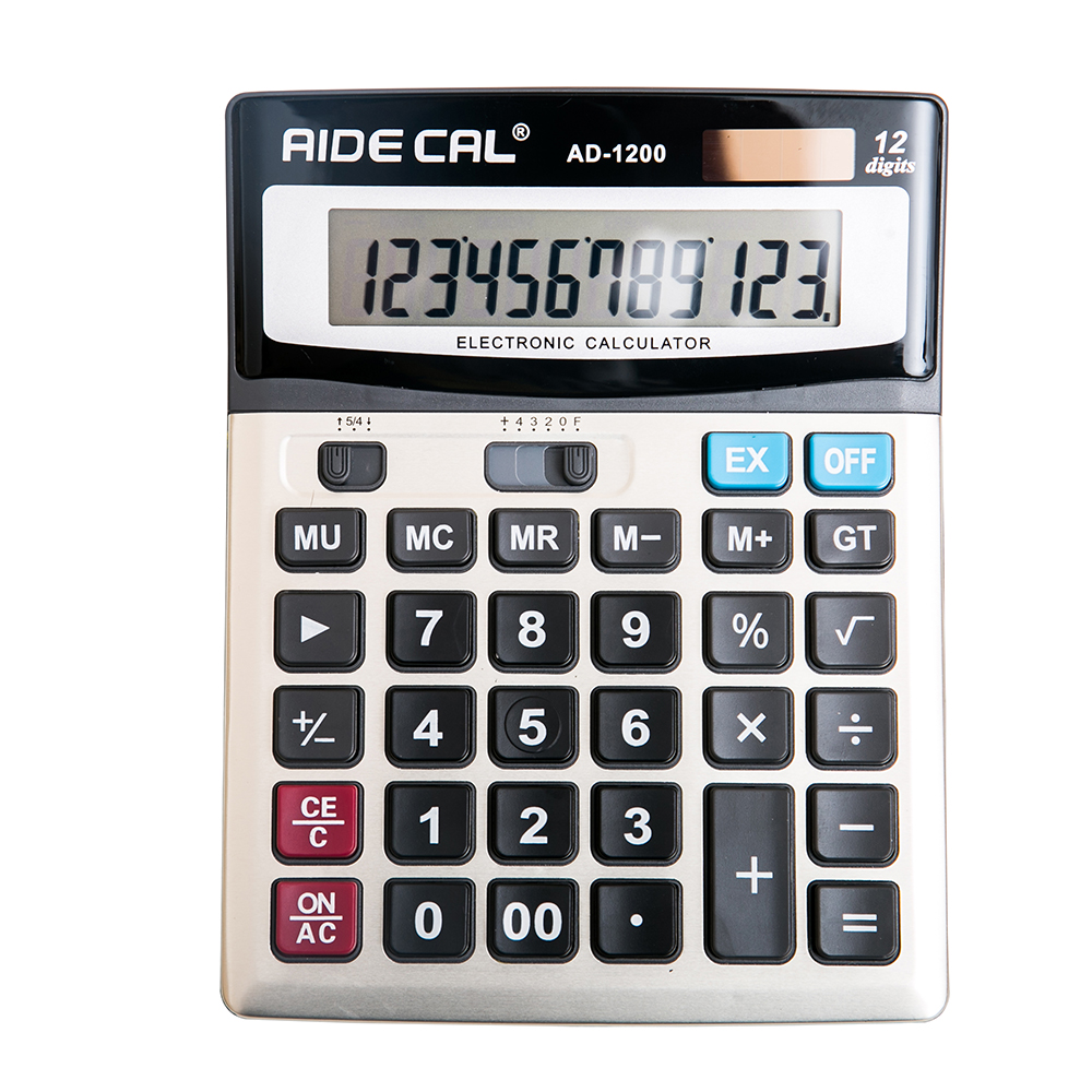 12 Digits Standard Office ,Solar, AA Battery Electronic Calculator Large, 1-Pack