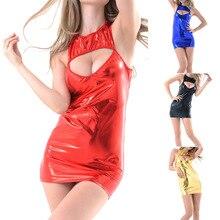 2019 Womens Sexy Wetlook Leather Cut Out Mini Dress Ladies Halter Bodycon Night Club DC116