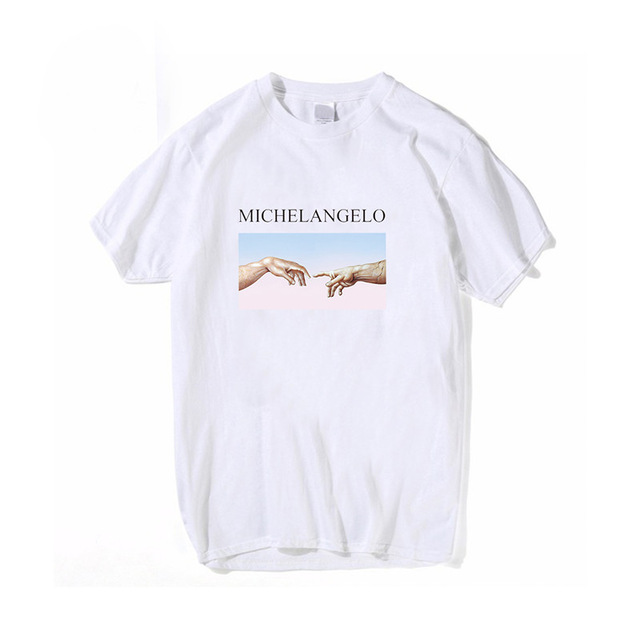 Women T Shirts Michelangelo Print Tshirt Streetwear Tops Female T-shirts Oversized Short Sleeve Tee Shirt Harajuku Woman T-shirt