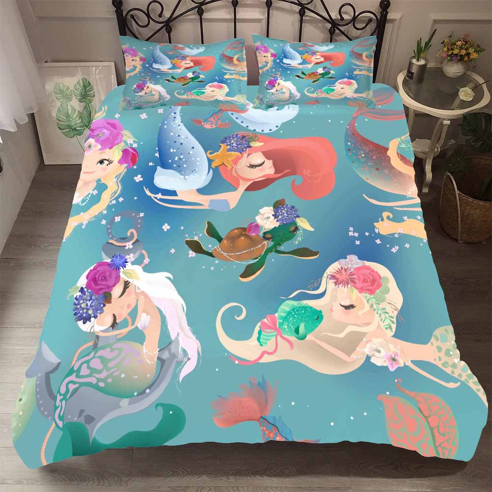 Home Textile Sea World Bedding Sets Pretty Mermaid Turtle Quilt Cover Single Double Duvet Cover Girls Bedroom Bed Comforter Set