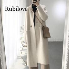 Rubilove 2019 Winter Woman Wool Cashmere Solid Loose Coat Jacket Women Woolen Simple Elegant Lady Long Blend Coats Cardigan