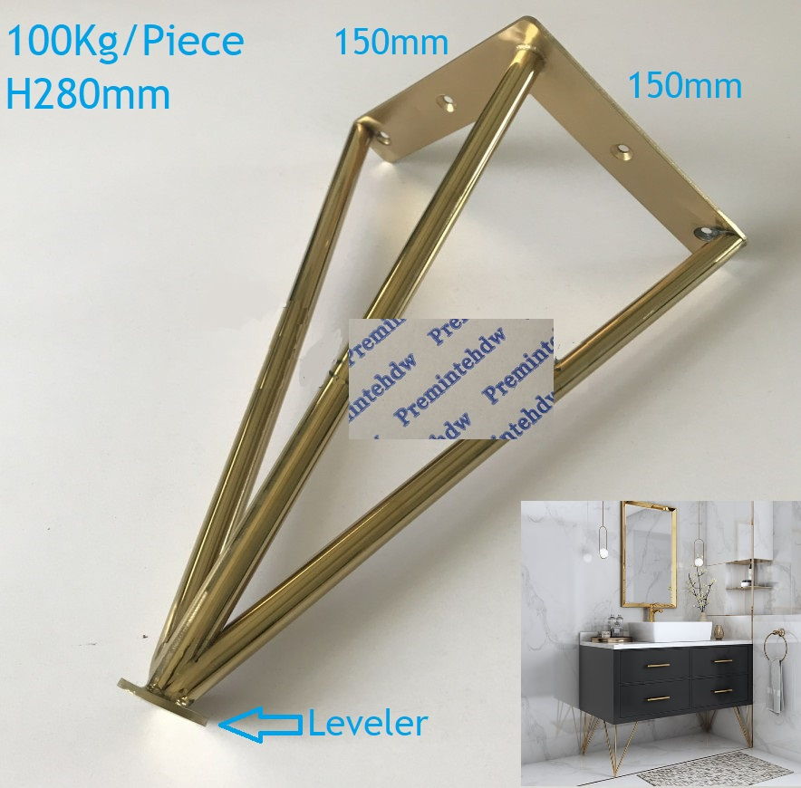 2Pcs/Lot Stianless Steel North European Bath Cupboard Cabinet Leg With Leveling Feet Titanium Gold