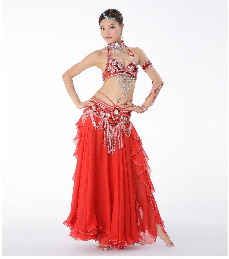 Костюм для танца живота, одежда для выступлений с бисером для женщин, костюмы для танца живота, бюстгальтер, пояс, юбка, комплекты одежды - Цвет: Коричневый
