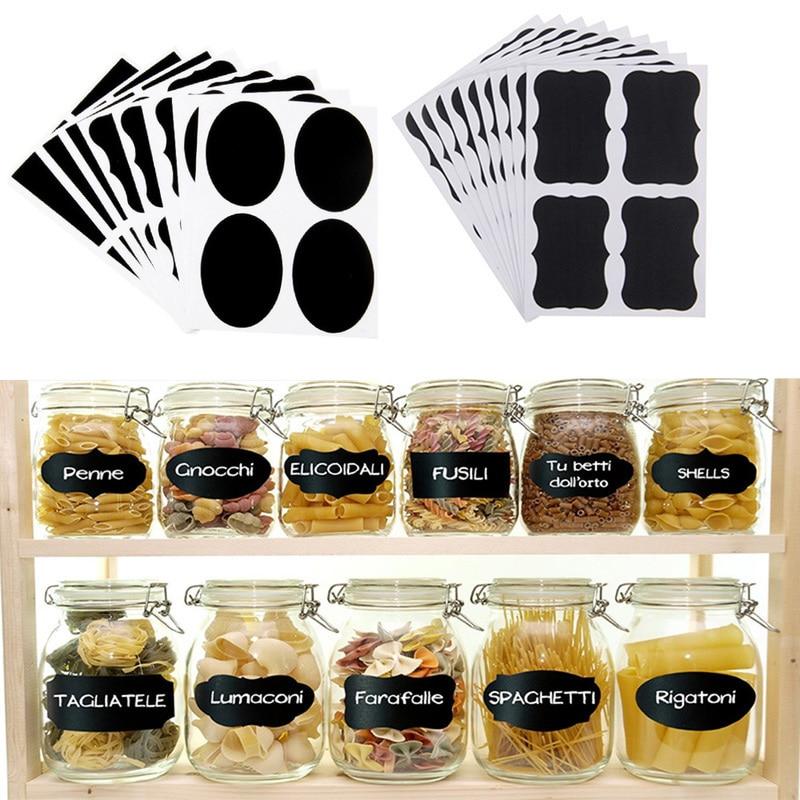 20 Sheets Spice Jar Labels PVC Frosted Blackboard Sticker for Bottle Sealed Can