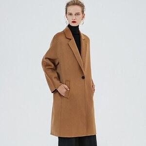 Image 2 - Bequeme Lange Herbst Winter Mantel Frauen Wolle mischungen Mantel Mode Schlank Braun/Beige Farbe Kaschmir Mädchen Woolen Stoff Mäntel