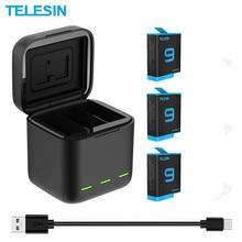 TELESIN 1750mAh akumulatory litowo jonowe do GoPro hero 9 czarna ładowarka z kartą TF przechowywanie Batteria ładowarka akcesoria do kamer
