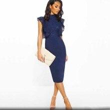 wholesale 2019 Newest Women dress black blue Lace Stylish and elegant Celebrity Cocktail party bandage