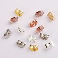 100 pçs 6x4.5mm ouro prata tom brincos de aço inoxidável volta rosa borboleta orelha porcas rolha apto diy jóias fazendo suprimentos