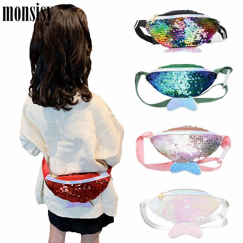 Monsisy Lolita Kids Sequin Fanny Pack For Girl 2020 Summer Coin Purse Small Belt Bag Shiny Mermaid Waist Pack Children Beach Bag