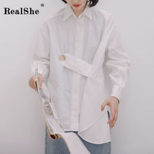 RealShe White Blouse Women Turn-Down Collar Full Sleeve Buttons Solid Womens Tops And Blouses Spring Autumn Casual Shirt
