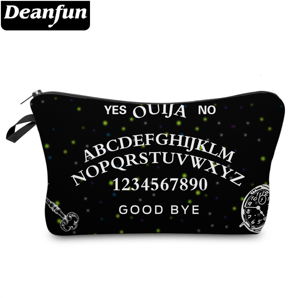 Deanfun Elegant Black Small Makeup Bag Letters Printing Cosmetic Bags For Women Storage Travel Bags For A Gift 51524