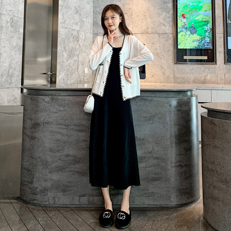 Autumn Pregnancy Dress Maternity Dresses Maxi Dresses for Women Loose Casual Long Sleeve 2 Pieces Ropa Maternal Dresses BE50DR