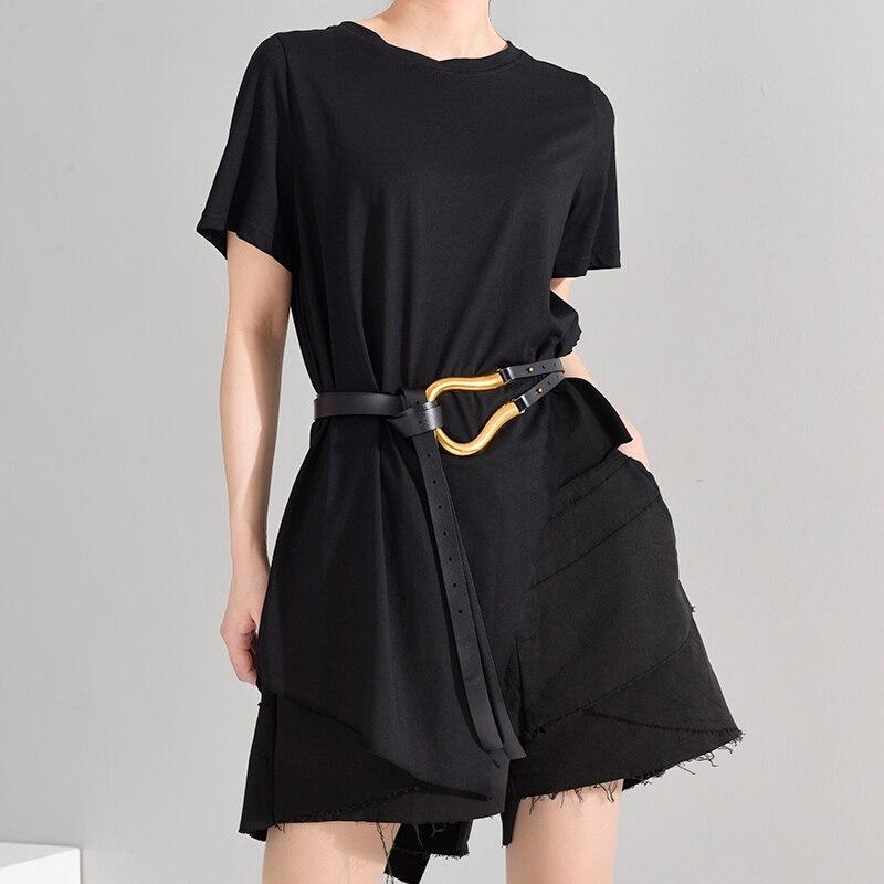 [EAM] Women White Irregular Split Joint Brief T-shirt New Round Neck Short Sleeve  Fashion Tide  Spring Summer 2020 1W63701 6