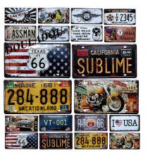 [Douladou] Vintage Metal Tin Signs Historic US Route 66 Motorcycle Retro Poster LAS VEGAS Best Selling Classic Painting 30x15 CM