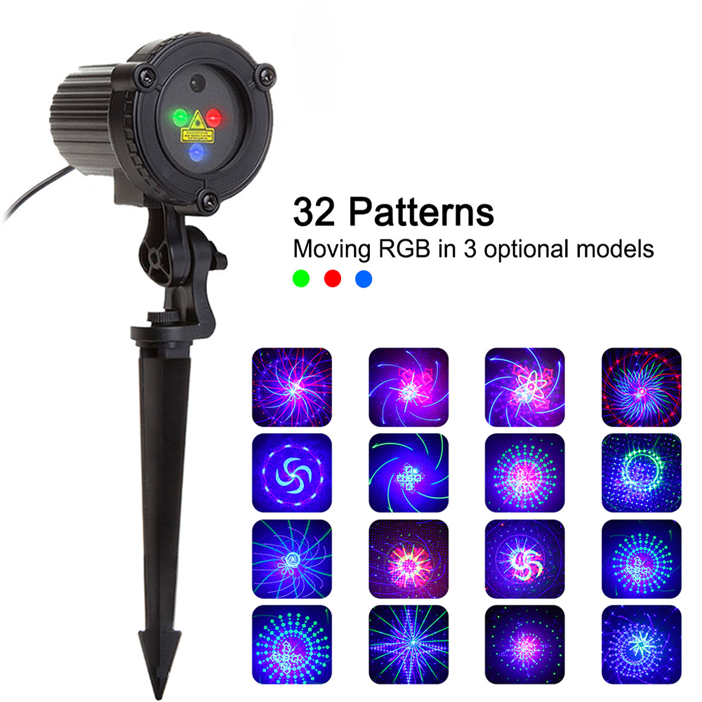 32 RGB Christmas Laser Light Projector Outdoor Garden Waterproof  DJ Laser Christmas Tree Villa House Holiday Lights