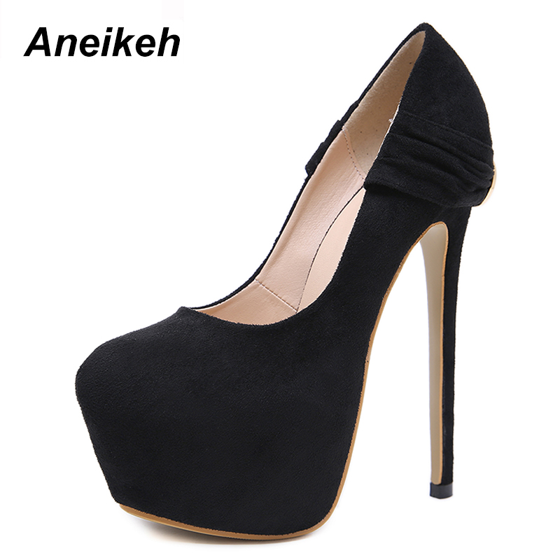 Aneikeh 2020 Spring Fashion High Heel Basic Pumps Shoes Woman Fetish Platforms Thin Heel Round Head Stripper Party Dress Shoes