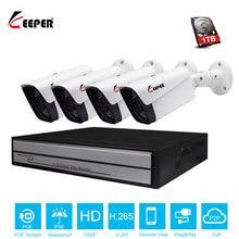 Keeper Sistema de videovigilancia H.265, 4 canales, 1080P, HD, NVR POE, 4 Uds., cámara IP de 2.0MP para exteriores, resistente al agua, P2P, Onvif