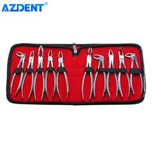 10pcs/set Tooth Extracting Forceps Dental Surgical Extraction Pliers for Adults Stainless Steel Dentist Tool With Storage Bag