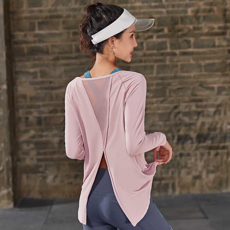 Sportowe topy siłownia kobiety z długim rękawem otwórz wróć koszulki do jogi luźne odwrotnej zasłona odzież sportowa ćwiczenia t-shirty odzież fitness