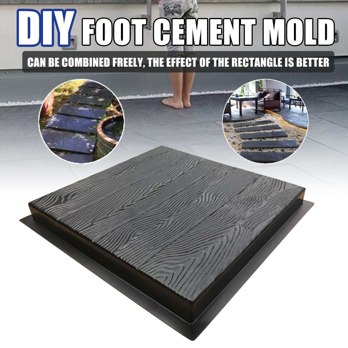 55*50cm Wood Grain DIY Pavement Path Cement Mold Paving Mould Garden Road Courtyard Concrete Mold Stepping Stone Maker Reusable