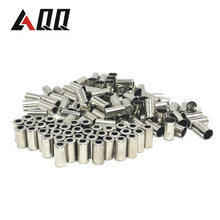 Tampas de cabo de freio aqq 100/50pçs, desviador de bicicleta, alavanca de câmbio, de metal prateado, tampas para cabo de bicicleta acessórios