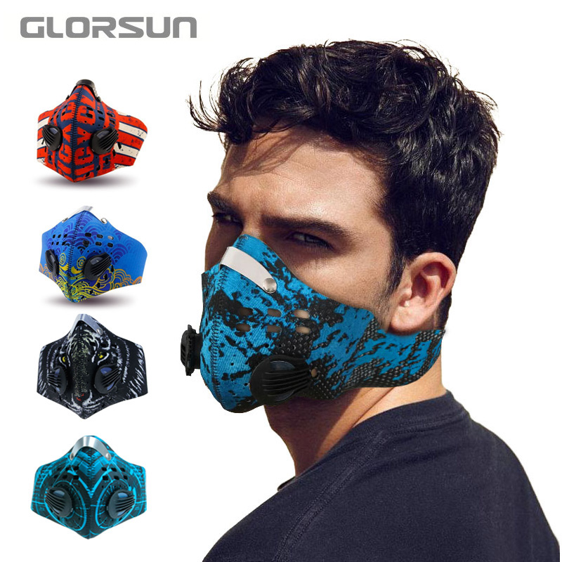GLORSUN Bicycle Cycling Anti Pm25 Pollution Mask Odor Dust Training Mask Bike Cycling Black Washable Sport Dust Mask