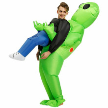 Hot Green Alien Carrying Human Costume Inflatable Funny Blow Up Suit Cosplay for Party Halloween XJS789