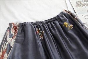 Image 5 - 봄 가을 여성 잠옷 바지와 함께 설정 섹시한 실크 숙녀 새틴 nightwear 가운 pijama 긴 소매 잠옷 파자마 femme