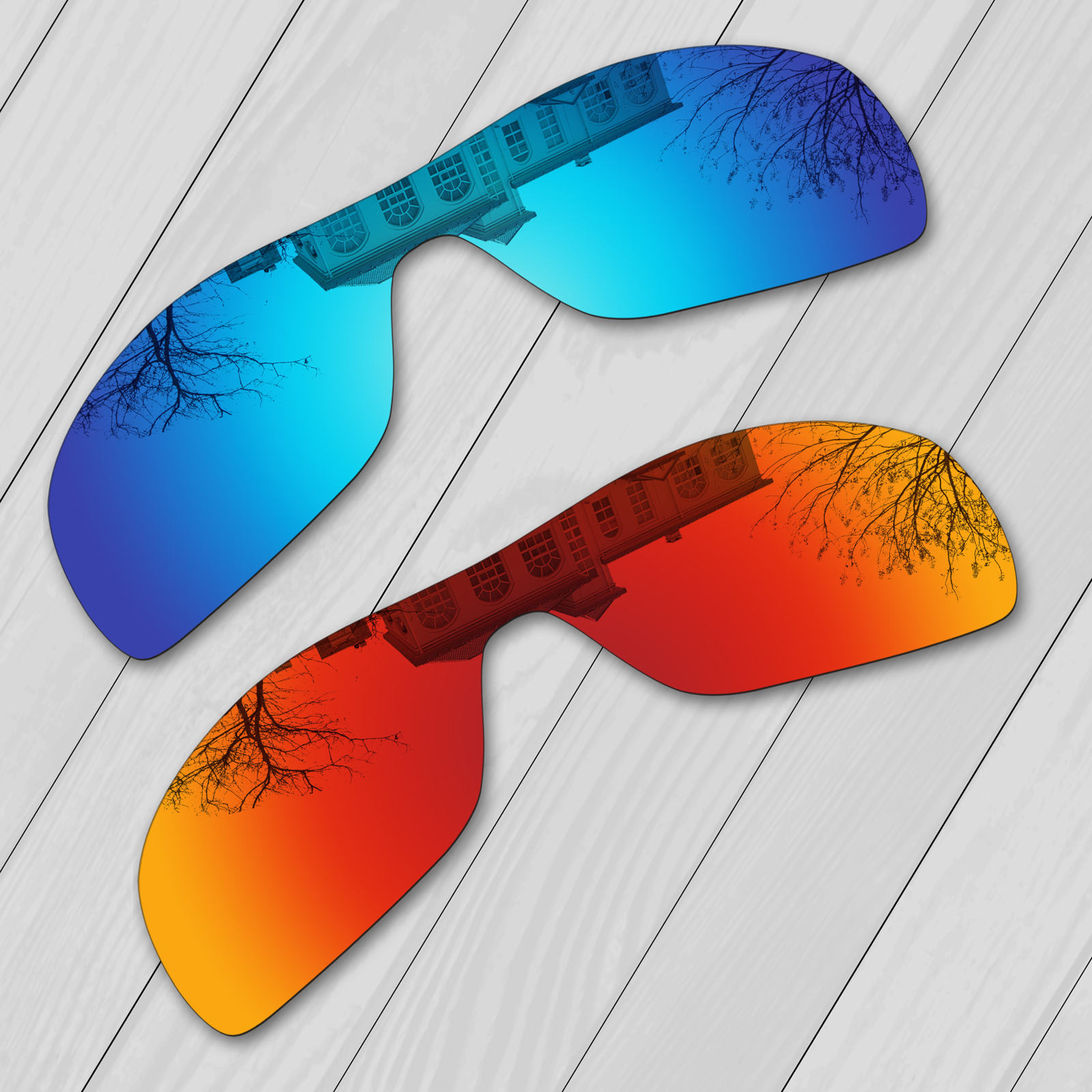 E.O.S 2 Pieces Ice Blue & Fire Red Mirror Polarized Replacement Lenses for Oakley Batwolf OO9101  Sunglasses
