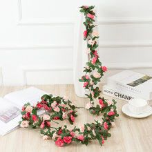 Artificial Flowers Rattan Rose Garland Wedding Decoration Baby Shower Birthday Party Bride To Be Home Decor Valentine's Day Gift