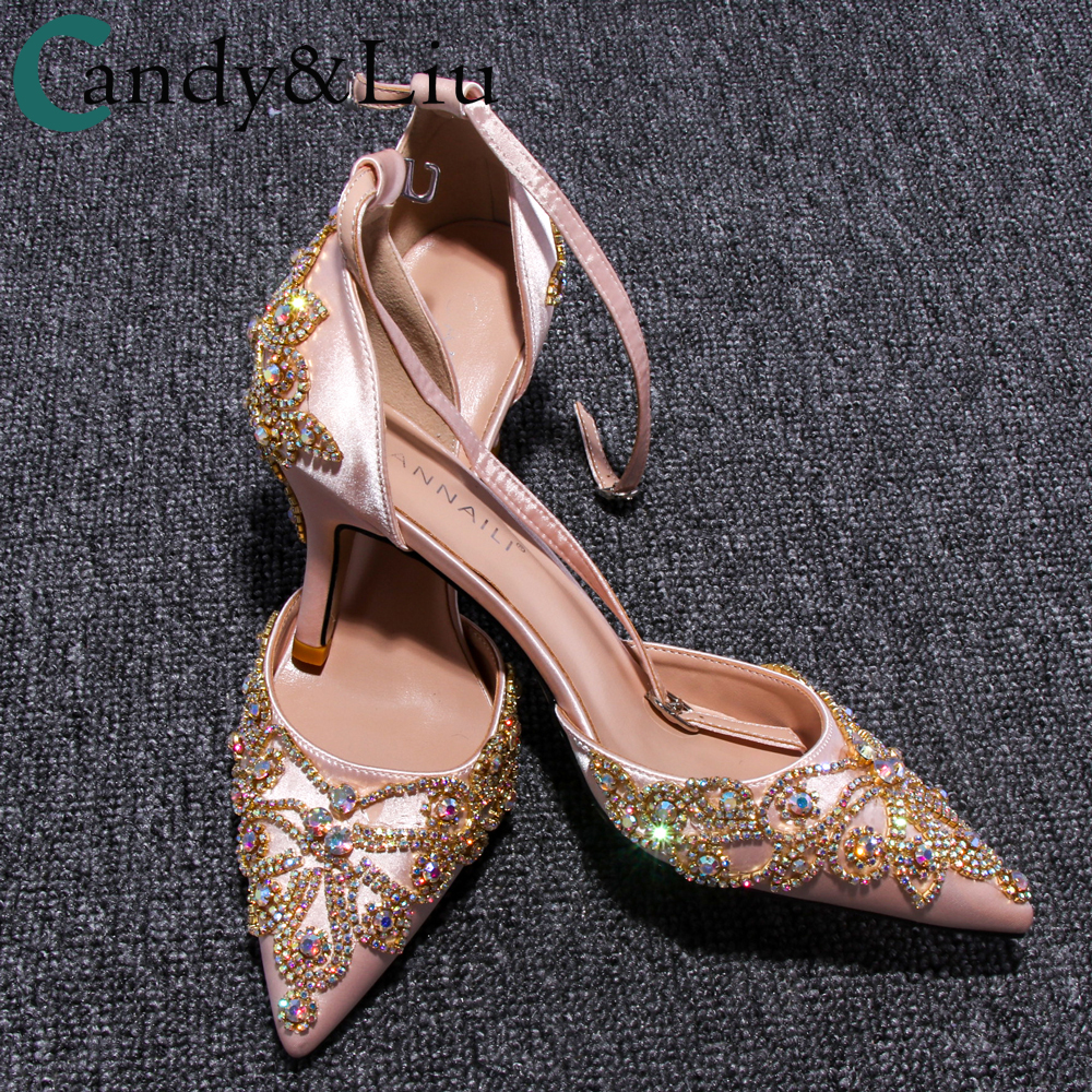 Women Sandals Gold Crystals Rinestone Pointed Toe Satin Buckle Strap Colorful Personalized High Customized Champagne Lady Shoes