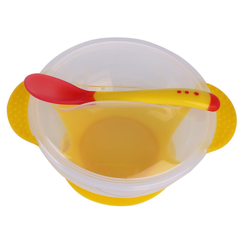 Креативная обучающая посуда для кормления ребенка, детская миска, миска для защиты от разлива, детская посуда для кормления, детская посуда для еды, Гироскопическая чаша для кормления - Цвет: E bowl Spoon cover