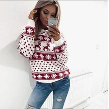 Suéter de invierno con cuello redondo para mujer 2019 nuevo suéter de punto de Navidad para mujer jersey de manga larga con estampado de puntos florales