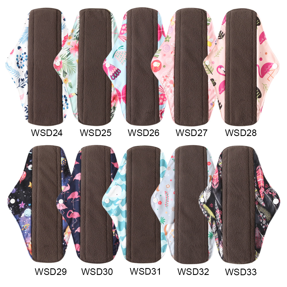 5PCS Reusable Sanitary Napkins Washable Cloth Menstrual Pads Mama Bamboo Charcoal Absorbency Panty Liner Overnight