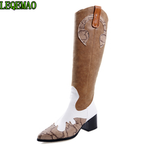 купить Women Western leather Knee High Boots Snake Print Zip Square High Heels Riding Knight Long Boots Winter Shoes дешево