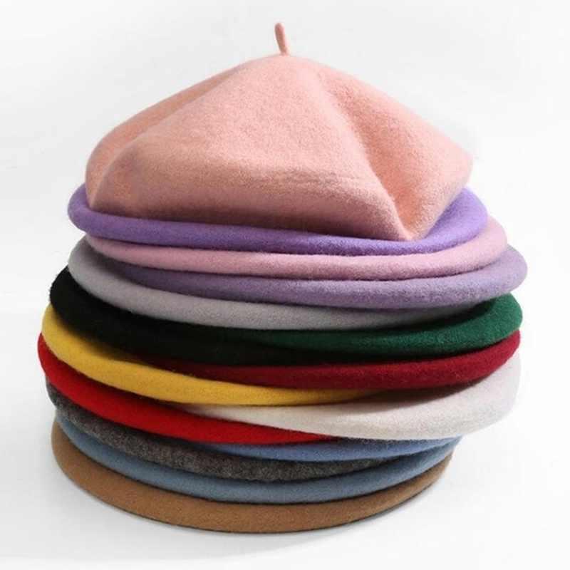 Bahasa Perancis Gaya Padat Santai Vintage Wanita Baret Topi Polos Topi Gadis Wol Musim Dingin Hangat Baret Beanie Topi Femme aldult Topi