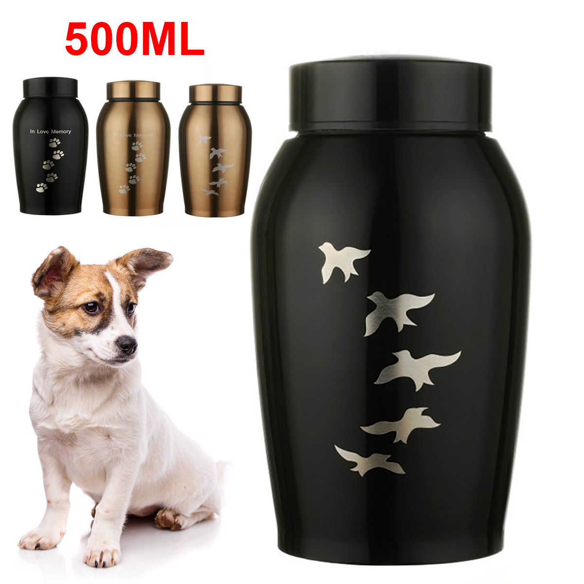 500ml Stainless Steel Memorials Urns Pets Dog Cat Birds Mouse Cremation Ashes Urn Keepsake Casket Columbarium Pets Memorials