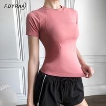 F.DYRAA Short Sleeve Yoga Shirts Sport Top Fitness Yoga Top Gym Top Sports Wear For Women Gym Femme Jersey Mujer Running T Shirt