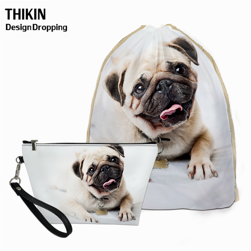 THIKIN Cute Pug Dog 3D Printing 2pcs Women Bags Set Travel Drawstring Backpack Female Hanging Cosmetic Bag For Make Up Pouch