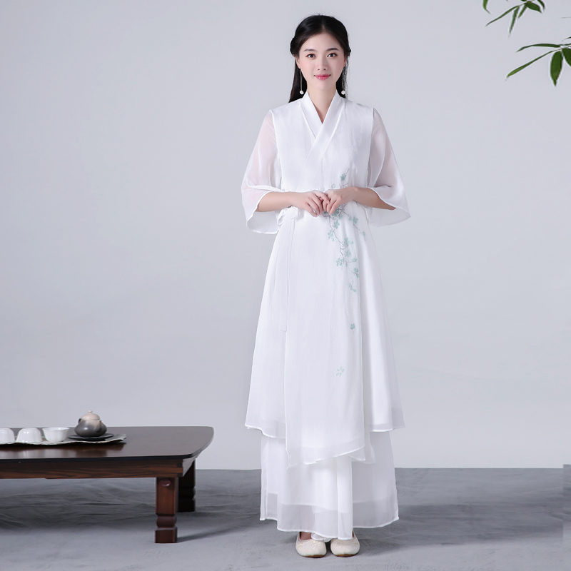 2020 Vintage Casual Retro Chinese Style Arts Cheongsam Dress Cotton Linen Clothing Robe Hemp Dresses Flax Robe Zen Tea