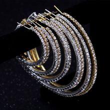 pair of graceful rhinestone circle earrings jewelry for women 2-10cm Sparking Rhinestone Crystal Large Circle Hoop Earrings For Women Fashion Jewelry