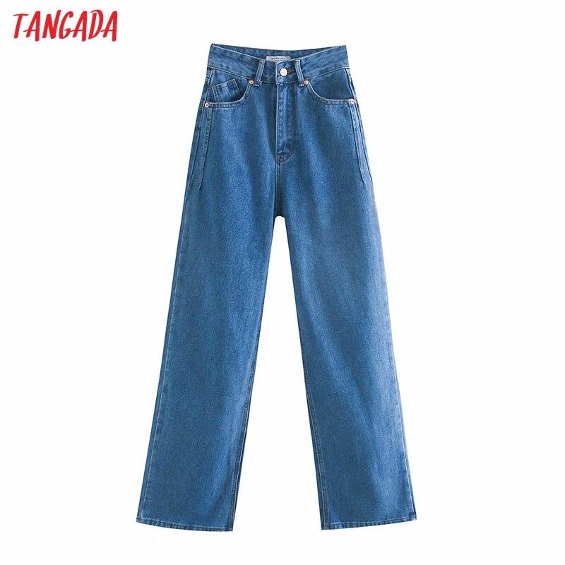 Tangada 2020 frauen hohe taille überlänge jeans hosen hosen taschen zipper weibliche breite bein denim hosen 4M520