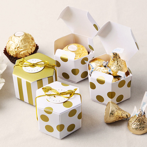 10pcs Mini Golden Stripe Dots Gift Box Hexagon Wedding Chocolate Box Bronzing Candy Box Baking Package Wedding Party Decorations