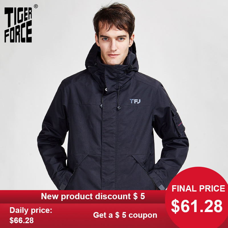 TIGER FORCE 2020 New Arriva Spring Autumn  Sport Jacket With  Hood Casual Men Jackets And Coat A Zipper Warm  Men's Parka  50612