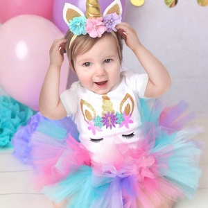 3pcs Unicorn Outfits 1st Birthday Baby Girl Clothes 1 Year Old Newborn Baby Christening Gown Kids Baby tutu Dresses Size 0-12M