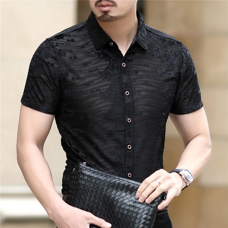 Flower Print Velvet Shirt Club Party Chemise Homme 2020 New Spring Short Sleeve Sexy Transparent Shirt Men Mens Button Shirt