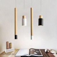 Criativo moderno luzes pingente de madeira nordic simples quarto cabeceira em linha reta preto ferro pingente lâmpadas decoração para casa luminárias|Luzes de pendentes| |  -