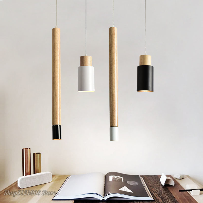 Modern Creative Wood Pendant Lights Nordic Simple Bedroom Bedside Straight Black Iron Pendant Lamps Home Decor Lighting Fixtures